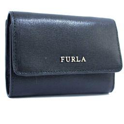 Furla フルラ ロゴ 三つ折り財布 型押しレザー ブラック 黒色 レディース【中古】