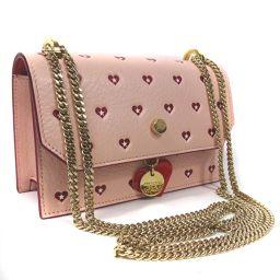 JIMMY CHOO Jimmy Choo Finley Chain Shoulder Shoulder Bag Leather Pink Red Ladies [Used]