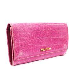 MIUMIU ミュウミュウ クロコ型押し 二つ折り 5M0506 長財布 レザー ピンク レディース【中古】