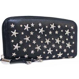 JIMMY CHOO JIMMY CHOO Star Studs Round Zipper Philipper Long Wallet Leather Black Unisex [Used]