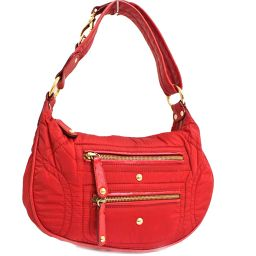 TOD'S Tods Shoulder Shoulder Bag Nylon / Leather Red Ladies [Used]