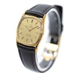 OMEGA オメガ デビル プッシュリューズ 腕時計 クオーツ ゴールド ブラウン レディース【中古】