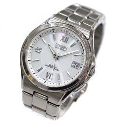 CITIZEN Atessa Eco-Drive Watch White Dial Solar Radio Clock Silver Men [Used]