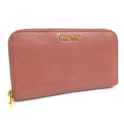 MIUMIU Miu Miu Round Zipper 5M0506 Long Wallet Embossed Leather Baby Pink Gold Hardware Ladies [Used]