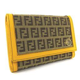 FENDI Fendi Zucchino Bi-fold Wallet Canvas / Leather Yellow Beige Ladies [Used]