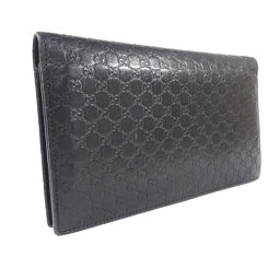 GUCCI Gucci Micro Gucci Shima Billfold 322210 Long Wallet Shima Leather Black Men [Used]