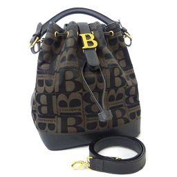 BURBERRY バーバリー Bロゴ 巾着 2way ハンドバッグ キャンバス/レザー ブラウン ブラック レディース【中古】