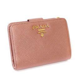 PRADA プラダ サフィアーノ コンパクト財布 L字ファスナー財布 1ML018 二つ折り財布 型押しレザー ピンク系 レディース【中古】