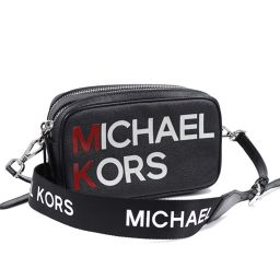 Michael Kors マイケルコース ロゴ クロスボディ ショルダーバッグ PVC/レザー ブラック 赤/白 レディース【中古】