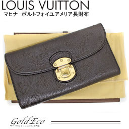 LOUISVUITTON 【Louis Vuitton】 Monogram Mahina Portofoille Amelia folding wallet chocolate M95968 black