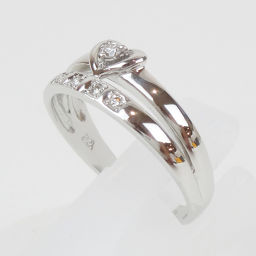 courreges CREAGE HEARTTOP 5 stone diamond K18WG design ring ring (Japan size approx 1