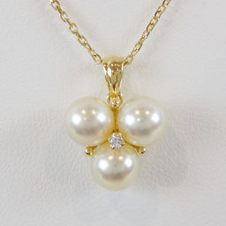 MIKIMOTO Mikimoto K18YG 1P 3 diamonds pearl design top pendant necklace 【New