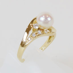 TASAKI Tasaki Tasaki Shinju Pearl Top K18 0.07ct Diamond ring ring (Japan size 10