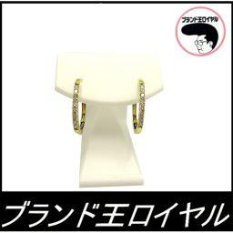 K18 diamond hoop earrings earrings 18 gold yellow gold 0.15 × 3