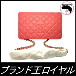 Chanel chain wallet pink diamond CC