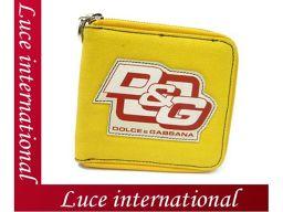 D&G ロゴ入りラウンドファスナー財布/イエロー ドルガバ