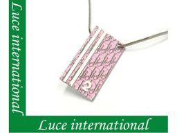 ディオール Dior トロッター柄 プレートネックレス /ピンク Christian Dior