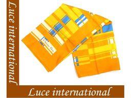 ディオール 大判シルクスカーフ/オレンジ×黄色 チェック柄 Christian Dior