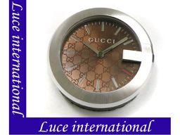グッチ 210 G-CLOCK Gデザイン 置時計 クロック ブラウン×SS GUCCI