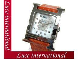エルメス Hウォッチ PM 腕時計 オレンジ  アリゲーター ホワイトシェル HH1.210 X刻印 1609990020mihs