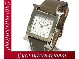 エルメス Hウォッチ PM 腕時計 エトープ シルバー スイフト 白文字盤 HH1.201 X刻印 170213