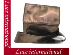 Chanel shoulder Pochette diagonal hanging bag bronze leather logo beauty age used 1710360006CS