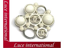 Chanel Coco Mark Brooches Light Gold White 03P Used 1710360107CS