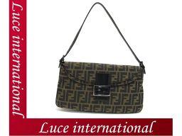 Fendi Zucca Pattern Semi-Shoulder Bag Brown Canvas 美 品 1710360154CS