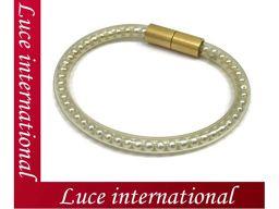 Chanel Fake Pearl Tube Bracelet Bangle Magnet Gold 00S Used 1712360042cs