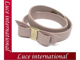 Salvatore Ferragamo Vala metal fittings Ribbon motif bracelet Choker pink 2254 beautiful goods 1804360159CS