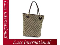 Gucci GG pattern canvas tote bag enamel leather beige red 120836 beauty medieval 18050926CS