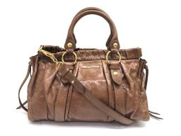 Miu Miu Gather 2WAY handbag shoulder leather brown gold metal fittings beautiful used 19042666CS