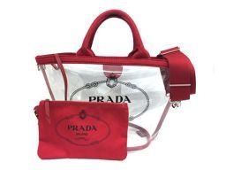 プラダ カナパ プレックス トートバッグ 1BG166 クリア×レッド ビニール×キャンバス 超美品 20050757CS