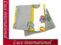 Hermes large format scarf LES RUBANS DU CHEVAL horse's ribbon gray silk 100% beautiful 3
