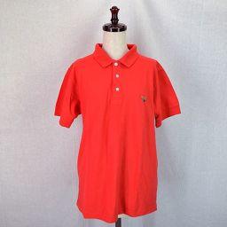 GIORGIO ARMANI/ジョルジオアルマーニ/レディース/ポロシャツ/赤 ロゴ 半袖 コットン サイズM 【中古】