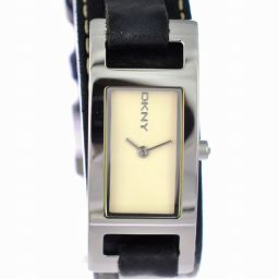 DKNY 腕時計 SS レザー ダナキャランニューヨーク レディース NY-3235 文字盤アイボリー クオーツ 【中古】