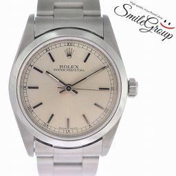ロレックス 腕時計 オイスターパーペチュアル SS レディース 77080 ROLEX 文字盤パールベージュ 自動巻き 【中古】