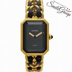 シャネル 腕時計 プルミエール M H0001 CHANEL GP×革ベルト レディース ブラック文字盤【中古】【送料無料】