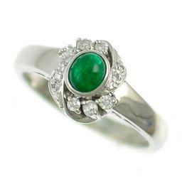 ◆プラチナ900/リング/エメラルド&ダイヤモンド/ファッションジュエリー 指輪 サイズ:9号