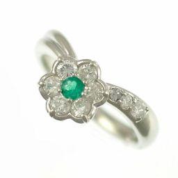 ◆プラチナ900/リング/エメラルド&ダイヤモンド/フラワーデザインファッションリング 11号