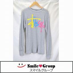 STUSSY/ステューシー/メンズ/長袖Tシャツ/グレー ロゴプリント サイズ:M 【中古】
