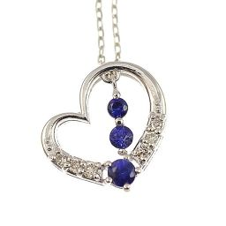 K18 white gold / sapphire open heart pendant / ladies jewelry [New] [Free Shipping]