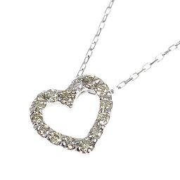K10 White Gold / Open Heart Diamond Pendant / Ladies Jewelry [New] [Free Shipping]
