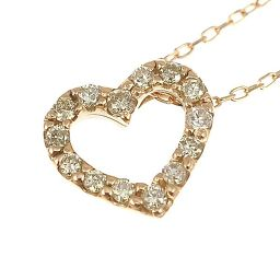 K10 pink gold / open heart diamond pendant / ladies jewelry [new] [free shipping]
