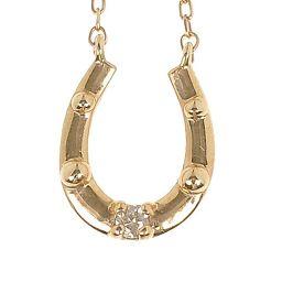 K10 pink gold / hose shoe diamond pendant / womens jewelry [New article]