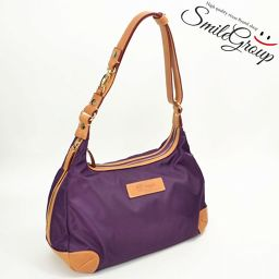 Lenoma shoulder bag renoma purple × brown leather × nylon 2 WAY [pre-owned]