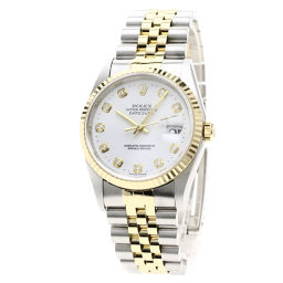 ロレックス 16233G デイトジャスト 10Pダイヤモンド コンビ 腕時計 OH済メンズ