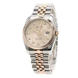 ロレックス 116231G デイトジャスト 10Pダイヤモンド コンビ 腕時計 OH済メンズ