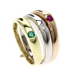 ダミアーニ 3連/ルビー/エメラルド/ダイヤモンド リング・指輪レディース