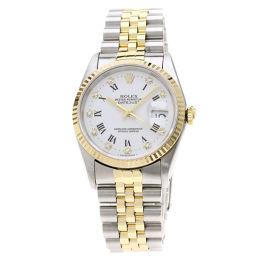 ロレックス 16233G デイトジャスト 10Pダイヤモンド ローマン 腕時計 OH済メンズ